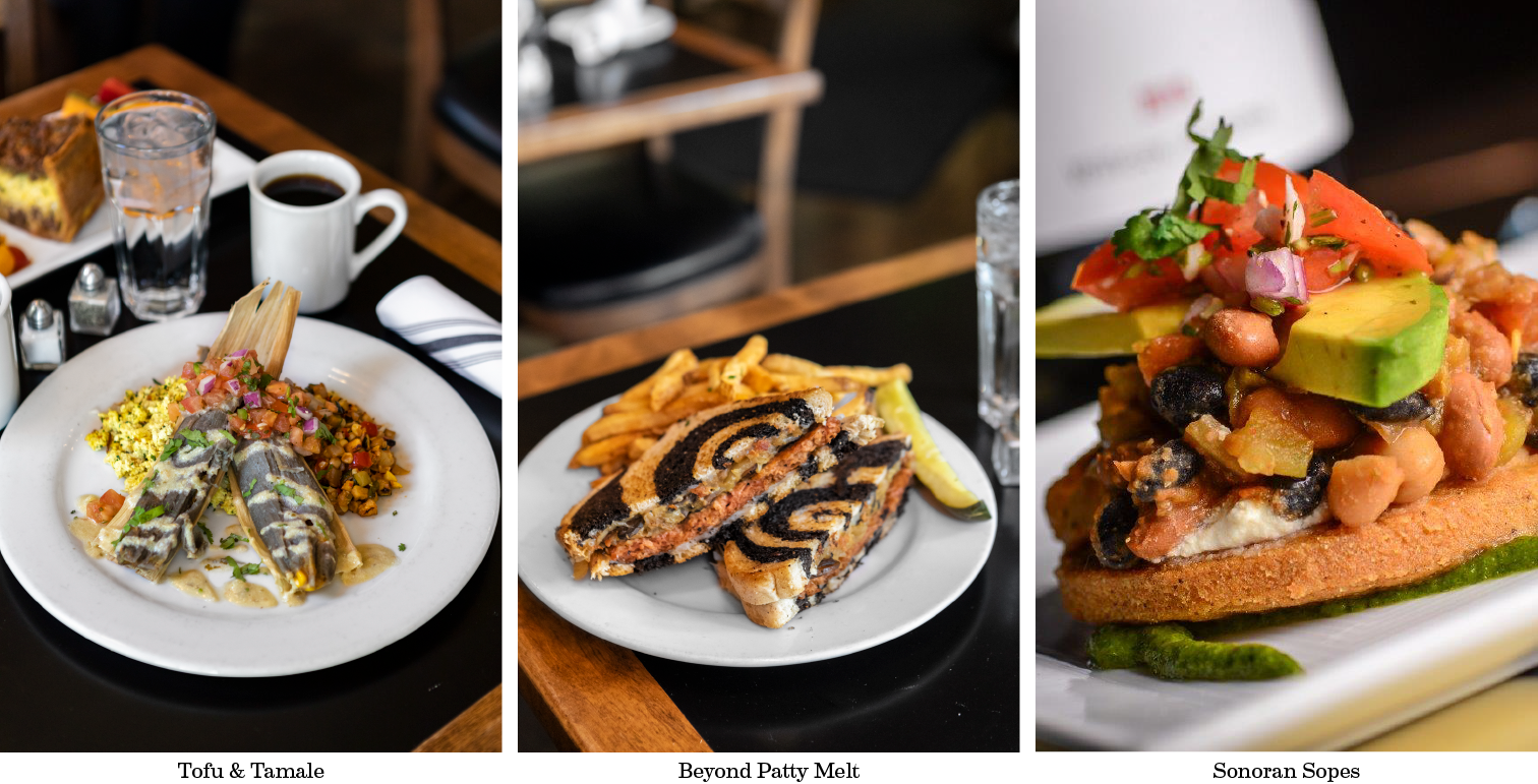 vegan dishes at Cup Cafe in Hotel Congress